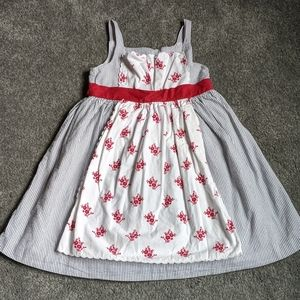 Janie and Jack Red Floral Apron Dress 4